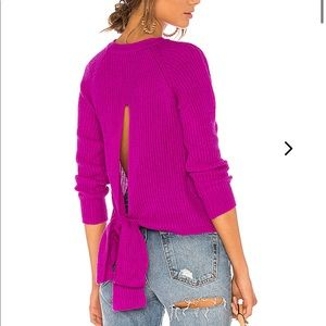 Lovers and Friends magenta open back sweater